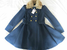 Bnwt filles bleu traditionnel boutonnage double jupe fourrure collier manteau age