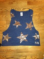 Victorias Secret Pink BLING Sequin Stars Muscle Tank Top Shirt Blue 4th Of July