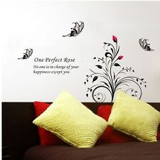Butterfly Flower Perfect Rose Wall Stickers Decal Removable Art Vinyl Decor DIY
