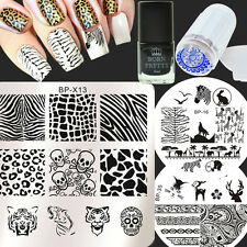 6Pcs Animal Nail Art Stamp Plates Stamping Polish W/Stamper & Scraper Kit Decor