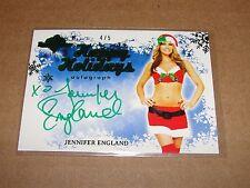 2014 Benchwarmer JENNIFER ENGLAND Happy Holidays Green Foil Auto SP/5 DODGEBALL