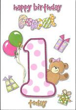 1st BIRTHDAY CARD - AGE 1 - PINK.TEDDY.BALLOONS.PRESENTS.POPPET.