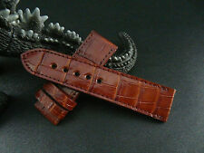 26mm Red Brown Genuine CROCODILE LEATHER WATCH STRAP BAND!