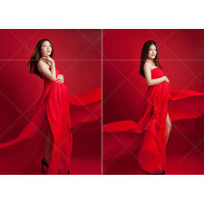 Maternity Graceful Maxi Dress Tube Top Dress for Pregnant Photography Props Red