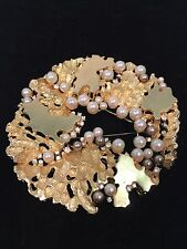 Rare Christian Dior 1970 Germany Pearl Rhinestone Combo Brooch Pendant Buckle