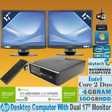 "FAST HP CORE 2 DUO DUAL SCREEN 2 x 17"" TFTs CHEAP DESKTOP PC SFF WINDOWS 7 Wi-Fi"