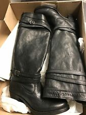 FRYE-Jane-Strappy-Black Leather Knee High Boots-Size 6 M New With Tag