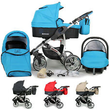 New Baby Travel System - Swivel Wheels PRAM PUSHCHAIR - Free CAR SEAT 3in1 Buggy