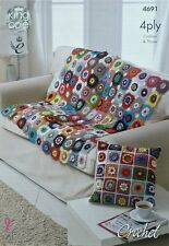 CROCHET PATTERN Flower Throw Blanket and Cushion/Pillow Giza Cotton 4ply 4691