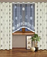 Modern, jacquard set net window curtains with curtain tape WHITE/CREAM