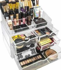 Clear Acrylic Makeup Cosmetic Jewelry Organizer Storage Drawers Top Display Case