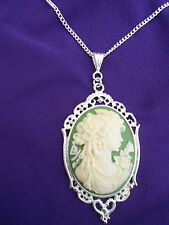 LARGE 40 x 30mm CREAM ON GREEN CAMEO LADY NECKLACE