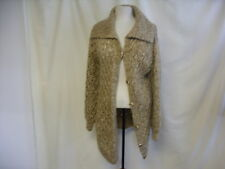"Ladies Cardigan Long hand knit pretty pattern brown chest 36"" length 30"" 0101"
