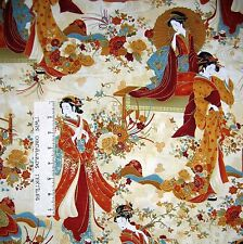 Japanese Fabric - Kyoto Geisha & Floral Scene Cream - Timeless Treasures YARD