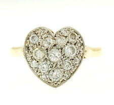 Vintage 18Carat Yellow Gold Diamond 0.50ct Heart Shaped Cluster Ring (Size M)
