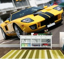 Photo Wallpaper Yellow super car Wall Mural 254x183cm for children's beedroom