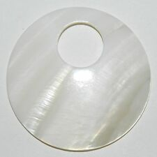 P2430f White Mother of Pearl Shell 50mm Round GoGo Donut Pendant Bead 1/pkg