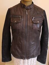 Michael Kors Biker Style Soft Leather Jacket Brown Body Black Arms Medium