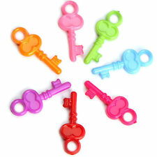 500 7/8'' Mixed Color Plastic Key- Charms- SMALL BIRD TOY PARTS- JEWELRY- CRAFTS