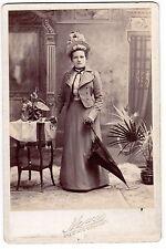 1800'S CABINET CARD PHOTO GIRL BIG HAT PARASOL BRIDGEPORT CONNECTICUT