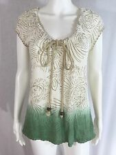 C Keer Anthropologie Sz M Ivory Green Wooden Bead Rope Tie Embroidered Top