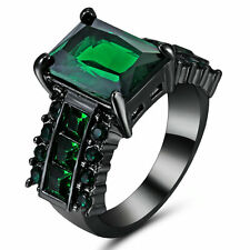 Vintage Emerald Green CZ Wedding Ring 10KT Black Gold Filled Women/Men's Size 7
