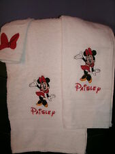Minnie Mouse Waving Personalized 3 Piece Bath Towel Set Your Color Choice