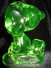 Green Vaseline uranium glass Snoopy dog paperweight puppy yellow peanuts figure