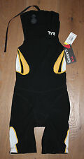NEW TYR Men's CARBON Zipperback SHORTJOHN KNEE SKIN w/ PAD - Black / Gold - XS