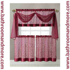 Embroidered Kitchen Window Curtain Set- 1 Valance with Voile Scarf, 2 Tiers