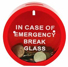 New In Case of Emergency Break Glass Plastic Novelty Money Savings Box Coin Bank