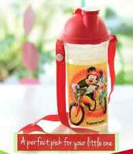 Tupperware Disney's Mickey & Goofy Bike Riding on 14oz Tumbler w/ Strap Red New