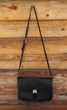 Vintage Authentic BALLY Black Woven Leather Messenger Handbag