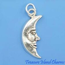 MAN IN THE MOON CRESCENT FACE .925 Sterling Silver Charm Pendant