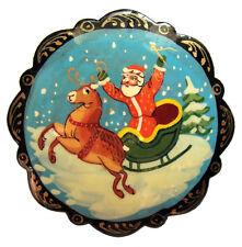 Broche Pere Noël, Broche en Papier mâché peint idee Cadeau Noel pas cher, Pere