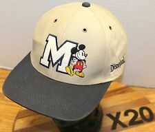 GOOFY'S HAT CO. DISNEYLAND MICKEY MOUSE HAT BEIGE STRAPBACK EMBROIDERED VGC X20