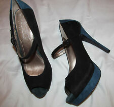 BCBG PARIS FRANNKIE suede black and navy blue mary jane high heel peep toe shoes