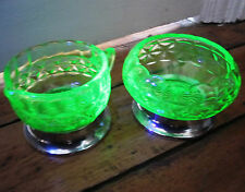 Uranium Glass Green Depression Glass UV tested Metal Base Sugar Bowl + Milk Jug