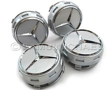 X 4 MERCEDES BENZ AMG SILVER ALLOY WHEEL CENTRE CAPS NEW STYLE DESIGN