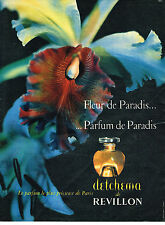 PUBLICITE ADVERTISING  1957   REVILLON   DETCHEMA parfum FLEUR DE PARADIS