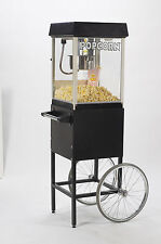 NEW BLACK FUN POP 4 OZ. POPCORN MACHINE & MATCHING CART