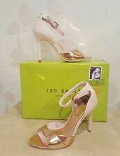 BNIB TED BAKER CAMIYL LIGHT PINK ROSE GOLD LEATHER HEELS SANDALS SIZE UK 4 EU 37