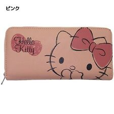 Sanrio Japan Zip-Around Long Wallet - Hello Kitty Face / Pink