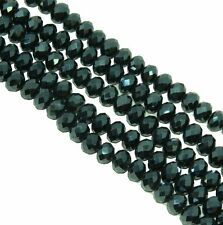 Metallic Green Faceted 6mm Rondelle Beads 90 Piece Luster Glass Crystal Beads