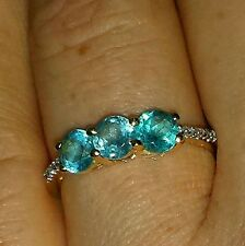 Brand New 9ct Gold Russian Apatite Ring 1.16cts - Trilogy Ring Certified - Rare
