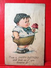 Postcard A/S C. Twelvetrees Chubby Boy Holding Rose Happy Birthday 1917