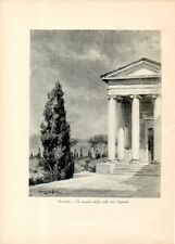Stampa antica INVERIGO Villa La Rotonda colonne Brianza Como 1931 Old print