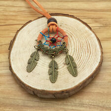 New Retro Handmade Dreamcatcher Feathers With Bead Long Chain Orange Necklace RR