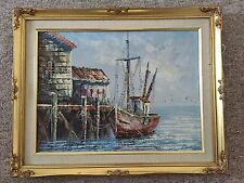 Lovely Oil Painting Signed Florence, Of Fishing Boat At Dock.