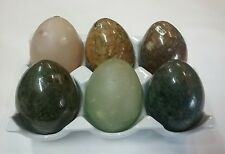Collectable Onyx/ Marble Eggs x 6 comlete with porcelain egg tray